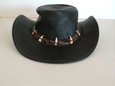 Cowboy Hat Australia / Barmah Hats / Rich and Worn Leather Patina w Crocodile and Animal Teeth Band