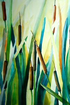how to paint cattails in watercolor - Google Search