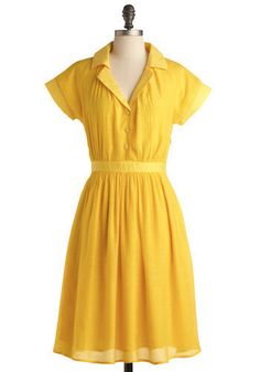 Quiet Campus Stroll Dress in Yellow. Although campus may be empty right now, the grounds are still lovely enough to stroll upon. #yellow #modcloth