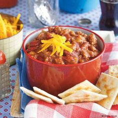 Gooseberry Patch Slow-Cooker Spicy Chili Recipe. Try spooned on top of your favorite hot dog too - yum!