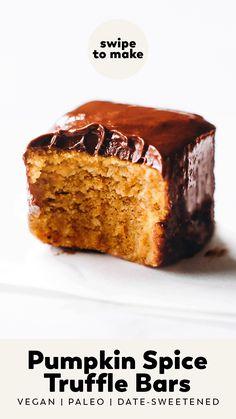 Healthy Vegan Desserts, Vegan Dessert Recipes, Vegan Treats, Vegan Foods, Sweets Recipes, Vegan Pumpkin, Pumpkin Recipes, Pumpkin Spice, Fall Recipes