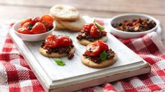 These stylish vegetarian canapés make impressive party food to serve with drinks. Canapes Recipes, Recipes Appetizers And Snacks, Yummy Appetizers, Confit Recipes, British Bake Off Recipes, Great British Bake Off, Vegetarian Canapes, British Baking, Xmas Food