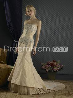 [$228.89] Unusual Color Wedding Dresses Tan Embroidered Mermaid Two Layer