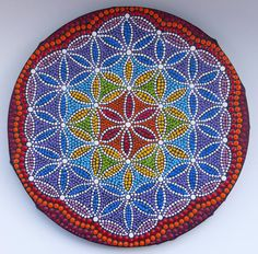 Flower of Life painted by Melinda Tamas, dot painting, canvas 20 cm, acrylic