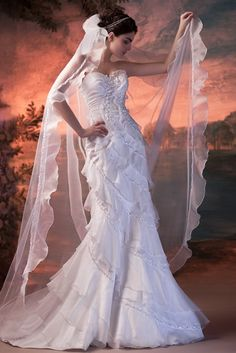 Sheath Wedding Gown with Ruffles and Tiered Details, Quality Unique Wedding Dresses Sheath Wedding Gown, Wedding Bridesmaid Dresses, White Wedding Dresses, Bridal Dresses, Wedding Gowns, Big Dresses, Amazing Dresses, Floral Wedding, Fairytale Gown