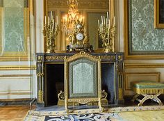 """""""Salon des Nobles"""" (Nolbe Salon) were the Queen was meeting important persons. The fireplace is made of Turquin blue marbe and gilt bronzes, to create an harmony with furnitures. Gouthière made the bronzes after a drawing by Rousseau. Louis Xiv, Versailles, Marie Antoinette, Palace, Salons, Mario, Musical Chairs, Castle, French Interiors"""