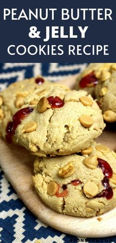 Peanut butter and jelly stuffed cookies are tender, loaded peanut butter cookies that're stuffed with strawberry jam. This easy cookie recipe turns the flavors of the childhood classic into a yummy treat that both kids and adults will love! #recipe #food #foodrecipe Easy Cookie Recipes, Best Dessert Recipes, Amazing Recipes, Holiday Recipes, Cake Recipes, Baking Desserts, Easy Desserts, Delicious Desserts, Stuffed Cookies