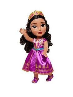 Disney Aladdin Jasmine My First Toddler Doll - Purple Dress in One Colour Disney Princess Toddler Dolls, Disney Princess Jasmine, Aladdin And Jasmine, Baby Doll Toys, Every Girl, Purple Dress, 2 Colours, One Color, Beautiful Outfits