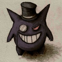 Colored gengar with top hat by Artemesis on deviantART