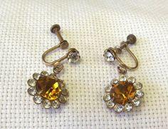 Vintage Jewelry Rhinestone Earrings Amber Color by SophiesAgora, $25.00