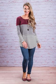"""""""Happy Ever After Top, Wine-Gray"""" We had to step out for some fresh air after seeing this precious tunic! It's just too much cute too fast! #newarrivals #shopthemint"""