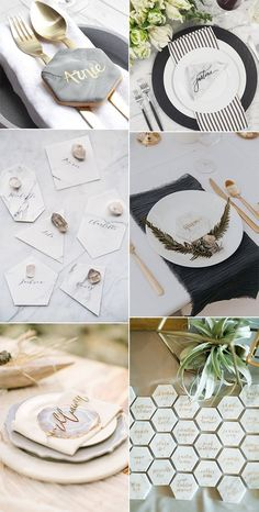 wedding place cards with marbles