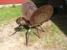 Scrap metal Buzz saw butterfly sculpture