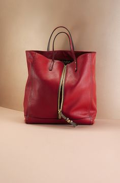 Inspiration for hand bag....but not leather necessarily ESCADA tote in eye-catching red