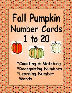 Great for centers.  Colorful pumpkin cards for counting, matching, learning numbers and number words $1.00
