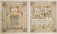 "Fine Frederick County, Virginia watercolor and ink fraktur birth records (c. 1817) for James Hott, attributed to the ""Virginia Record Book"" artist. 7 in. x 5 ¾ in. each sight size. Published in SVFS, Folk and Decorative Art of the Shenandoah Valley, p. 30, figs. 306 and 307."