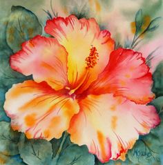 Hibiscus Flower Watercolor Tropical Peach by MarthaKislingArt, $70.00