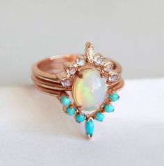 SOLID 14K ROSE GOLD NATURAL MOONSTONE DIAMOND OPAL TURQUOISE ENGAGEMENT RING  #Handmade #Cocktail #Engagement