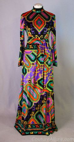Daniel Tribouillard was the genius behind the prints at Leonard Fashion of Paris. By the early 70s, prints by Leonard Fashion rivaled those of Emilio Pucci in quality and popularity. This dress dates to about 1971-72, when the bell sleeve was used in the line.
