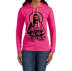The T-shirt Press Womens Jesus Is My Homeboy Lightweight Long-Sleeve Hooded T-Shirt * Visit the image link more details.