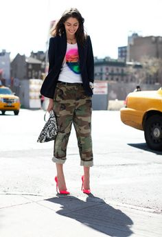 I saw her wearing army pants & heels, so I went out & bought army pants & heels!