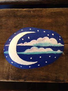 Painted Rock Moon Phase PAPERWEIGHT Painted by BrownsThreadWorks