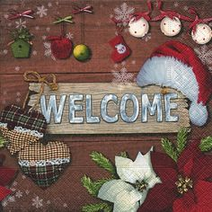 3572 Servilleta decorada Navidad