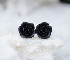 Black Rose Post Earring, Black Rose Stud Earrings, Black Flower Earrings, Floral Earrings on Etsy, £9.35