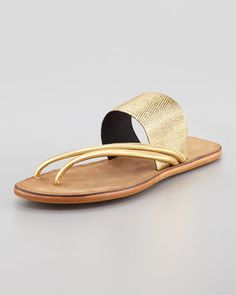 Zaira Elastic Webbed Elastic Thong Sandal, Gold by 7 for all mankind at Neiman Marcus.