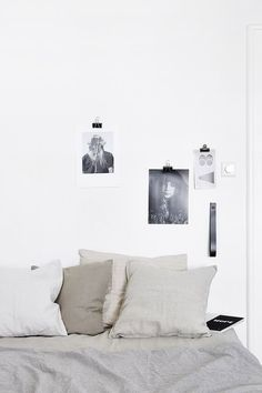 bedroom: neutral linen + black and white art