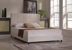 Home Life Cloth Light Beige Cream Linen Platform Bed with Slats Full - Complete Bed 5 Year Warranty Included