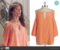 d5d0619dda6485 Genevieve s orange cold shoulder top on Devious Maids. Outfit Details   http