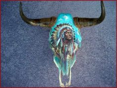 American indian painted skull