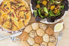 Menú Especial de Temporada: Quiche Napolitana, Ensalada Garden y Corona de pan bolita