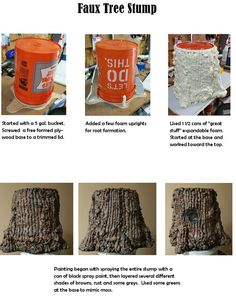 Journey off the Map - Faux Tree Stump Instructions VBS 2015 Theatre Props, Stage Props, Theater, Craft Font, Fake Trees, Beton Design, Off The Map, Vacation Bible School, Stage Design