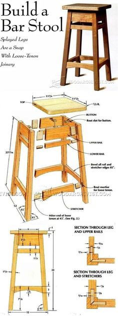 DIY Bar Stool - Furniture Plans and Projects - Woodwork, Woodworking, Woodworking Plans, Woodworking Projects Diy Projects Plans, Diy Wood Projects, Furniture Projects, Project Ideas, Woodworking Furniture Plans, Woodworking Projects Diy, Teds Woodworking, Woodworking Skills, Woodworking Machinery