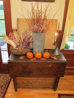 Rustic fall entry table!