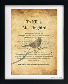 To Kill a Mockingbird It's A Sin To Kill A by circlewallart, -- To Kill a Mockingbird - It's A Sin To Kill A Mockingbird - Art Book Print Vintage effect wall Quote with text from the Original book by Harper Lee.
