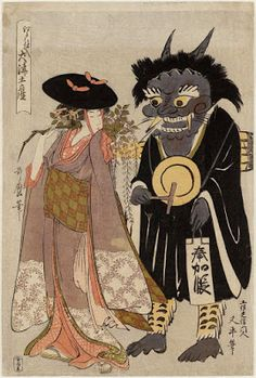 "Wisteria Maiden (Fuji musume) and Demon Chanting the Name of the Buddha (Oni no nenbutsu), from the series ""Souvenir Paintings from Ôtsu miyage"" (c. by Kitagawa Utamaro (woodblock print) Japanese Artwork, Japanese Painting, Japanese Prints, Japan Illustration, Samurai, Japanese Woodcut, Japanese Mask, Kunsthistorisches Museum, Japanese Monster"