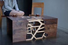 Founded by Andrei Hakhovich; San Francisco design studio Gradient Matter designed 'the Branching Table'; a walnut and bamboo plywood table, one-of-a-kind,. Walnut Coffee Table, Coffe Table, Coffee Table Design, Table Furniture, Furniture Design, Plywood Table, Japanese Joinery, Wood Design, Shabby
