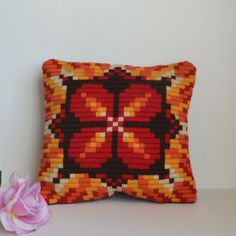 Vintage Small Orange Brown Yellow Pillow Star Pattern  - House Decor, 70's, Yarn Mosaic