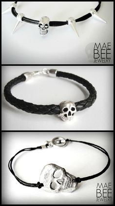 #Skull #bracelets for #Halloween or whenever! ...from JewelryByMaeBee on #Etsy. #sfetsy www.jewelrybymaebee.etsy.com