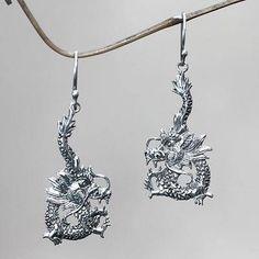 Sterling silver dangle earrings 'Dragon Splendor' - Sterling Silver Dangle Earrings
