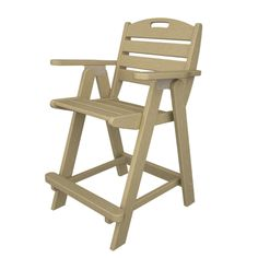 Outdoor POLYWOOD® Nautical Recycled Plastic Counter Height Chair - NCB40BL