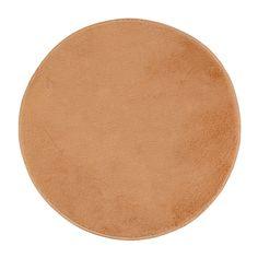 Family Plush Flower Pattern Anti-slip Floor Carpet Doormat Light Brown 80cm Dia