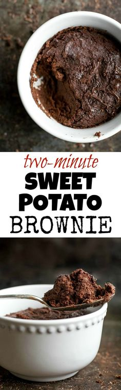 This healthy Two Minute Sweet Potato Brownie recipe is so fudgy, dense, and chocolatey, that you'd never be able to tell it's made with NO flour, NO butter, and NO oil! | runningwithspoons... {vegan, paleo, gluten free}