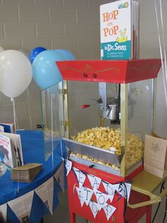 Book Themed Baby Shower-Hop on Pop Popcorn machine - could do the individual popcorn bags