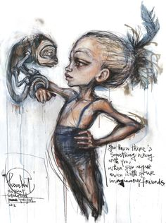 "Artists: Herakut | ""You know there's something wrong with you, when you argue even with your imaginary friends."""