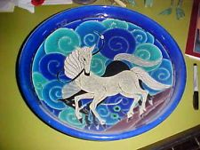 Vintage Art Deco Longwy France PRIMAVERA Charger with WHITE HORSE