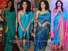 Celebrity Blue Silk Sarees and Blouse Desings